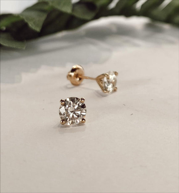 14K Yellow Gold 2.08 CTW Diamond Stud Earrings