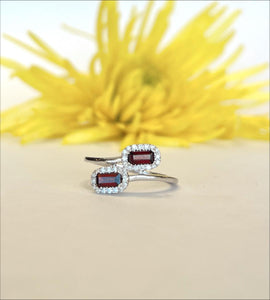 14K White Gold .51 CTW Garnet & .14 CTW Diamond Ring