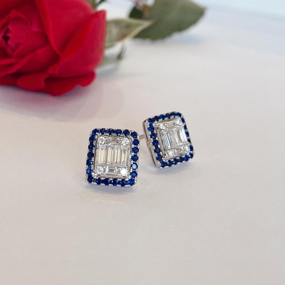 14K White Gold 44 Sapphire 0.57 CTW 10 Diamonds 0.56 CTW Earrings