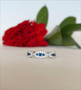 14K White Gold .19 Carat  Sapphire &  .32 CTW Diamond Woven Band - The Jewelers Lebanon