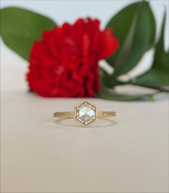 14K Yellow Gold .52 Carat Lumiere Rose Cut Diamond Engagement Ring By Parade - The Jewelers Lebanon