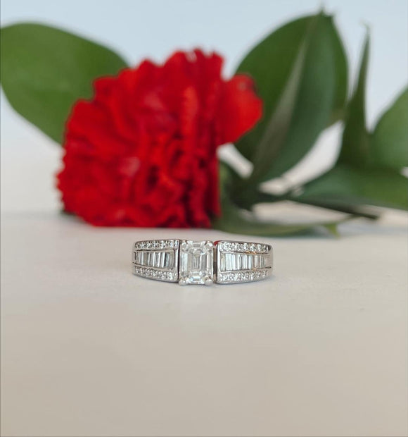 18K White Gold .52 CTW Emerald Cut Center Engagement Ring