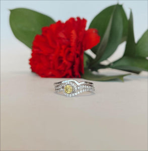 18K  Yellow Diamond-Enhanced Round Brilliant Engagement Ring - The Jewelers Lebanon