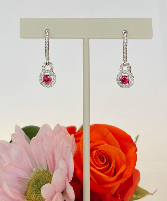 14K White Gold .67 Carat Ruby &  .44 CTW Diamond Dangle Halo Earrings By Yanni B - The Jewelers Lebanon