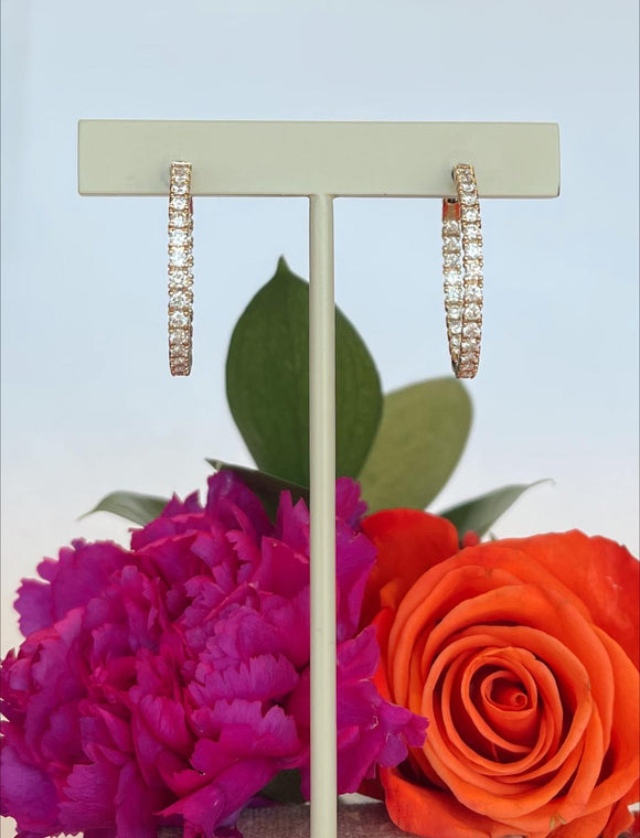 14K Yellow Gold 2.3 CTW Diamond Hoop Earrings
