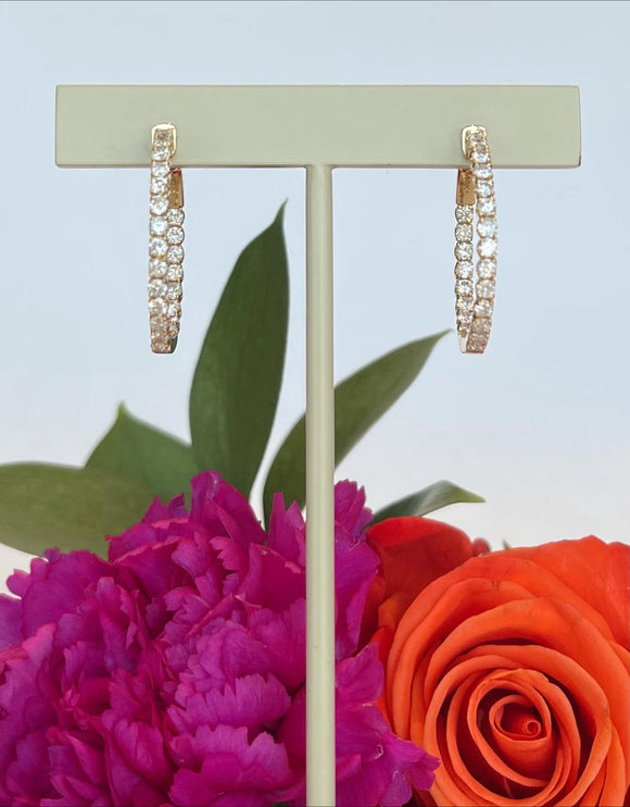14K Yellow Gold 1.72 CTW Diamond Inside Out Diamond Hoop Earrings