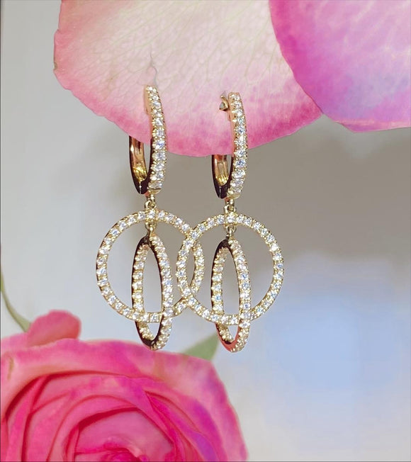 14K Yellow Gold .81 CTW 3 Hoop Dangle Diamond Earrings