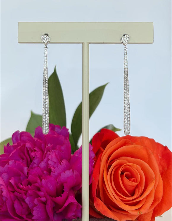 14K White Gold .46 CTW Diamond Dangle Earrings