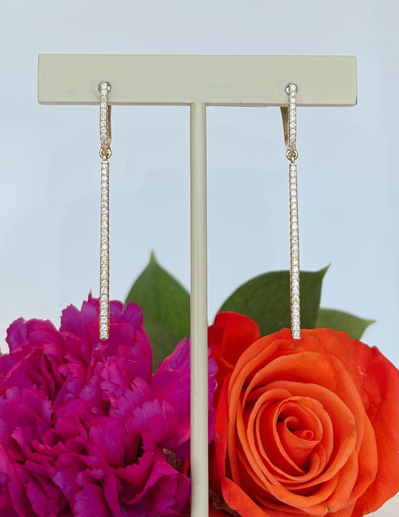 14K Yellow Gold .87 CTW Roman & Jules Diamond Dangle Earrings