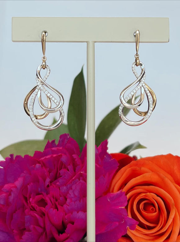 14K Two Tone .30 CTW Double Diamonds Swirl Earrings