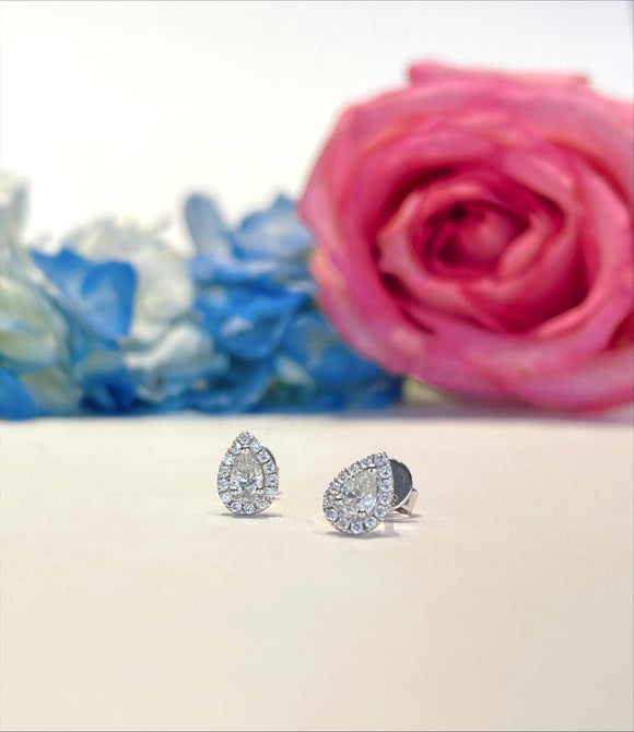 18K White Gold .58 CTW Roman & Jules Diamond Pear With Halo Stud Earrings