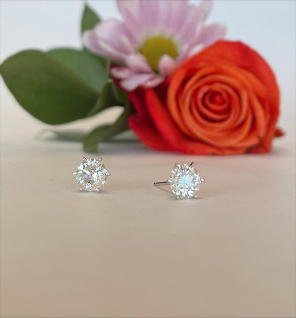 14K White Gold 2.54 CTW Diamond Stud Earrings