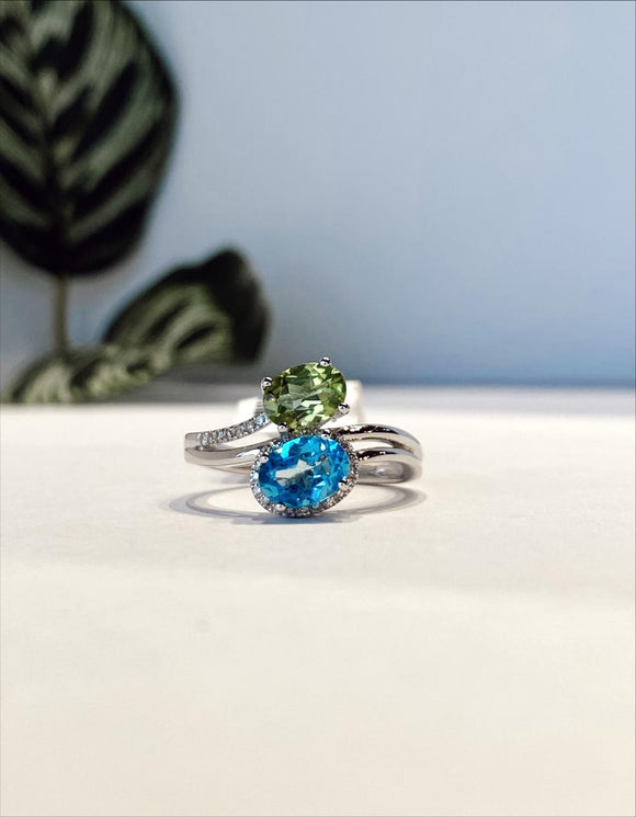 14K White Gold 1.01 Carat Peridot & 1.05 Carat Blue Topaz With .06 CTW Diamond Halo Ring Ring - The Jewelers Lebanon