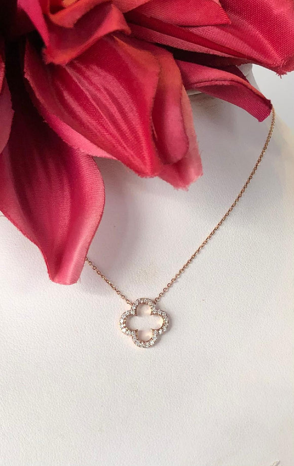 14K Rose Gold .22 CTW Diamond Necklace
