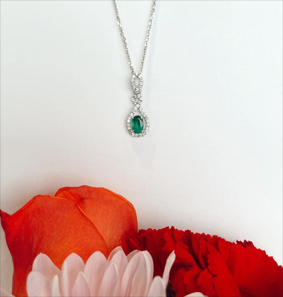 14K White Gold .44 Carat Emerald .20 CTW Diamond Necklace By Yanni B