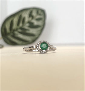 14k White Gold .30 CTW Emerald and .12 CTW Diamond Ring