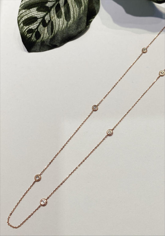 14K Rose Gold 0.16 CTW 24 Inch Necklace