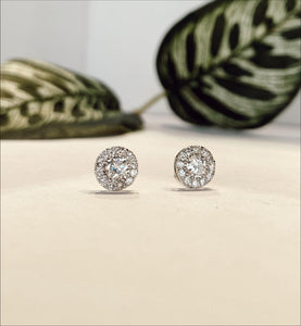 14K White Gold .78 CTW Diamond Stud Earrings