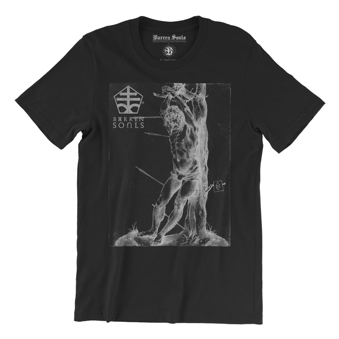 Saint Sebastian Occult T-shirt for men, empower yourself with satanic clothing and tell the truth about religion and how it divides everyone. black magic and Alchemy infused t-shirts