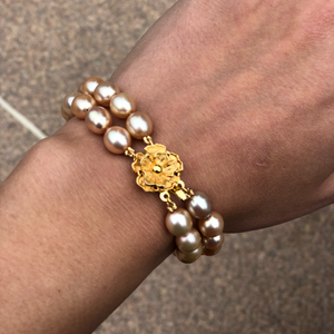 Double Gold Pearl Knotted Bracelet with Flower Clasp
