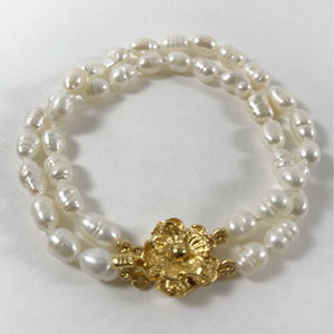 Double Freshwater Pearl Bracelet & Gold Flower Clasp