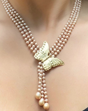 Load image into Gallery viewer, Gold Pearl Choker Lariat