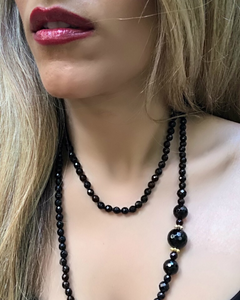 Asymmetric Onyx and Gold Necklace