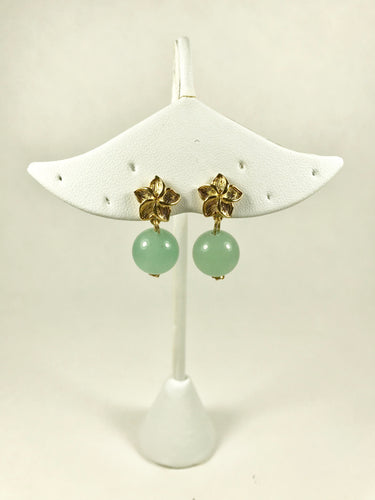 Aventurine and Gold Flower Earrings