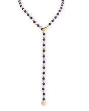 Load image into Gallery viewer, Lapis & Gold Pearl Lariat