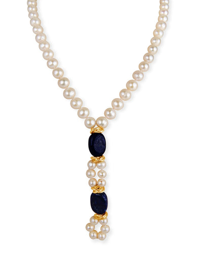 Pearl Necklace with Rich Lapiz Lazuli
