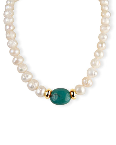 Turquoise, Pearl & Gold Knotted Necklace