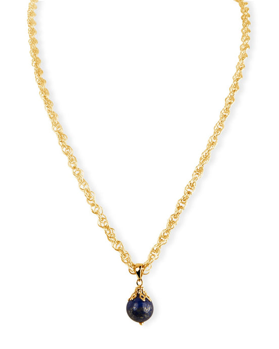 Gold Chain Necklace with Lapis Pendant