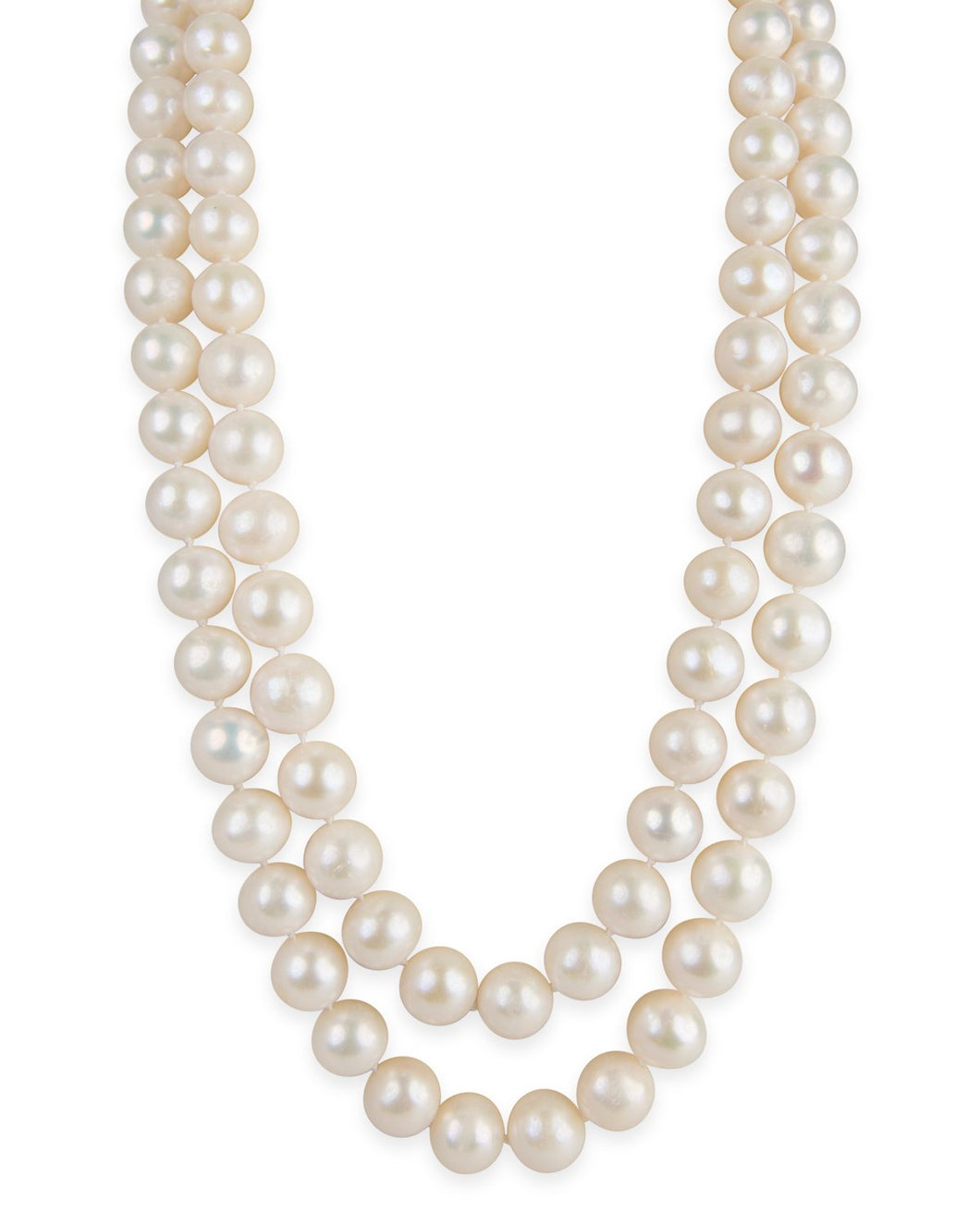 Double Strand White Knotted Pearl Necklace