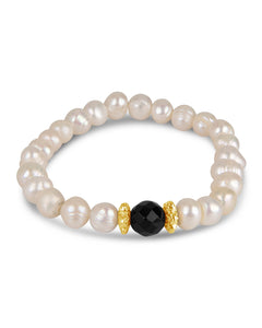 Pearl, Gold, and Onyx Bracelet