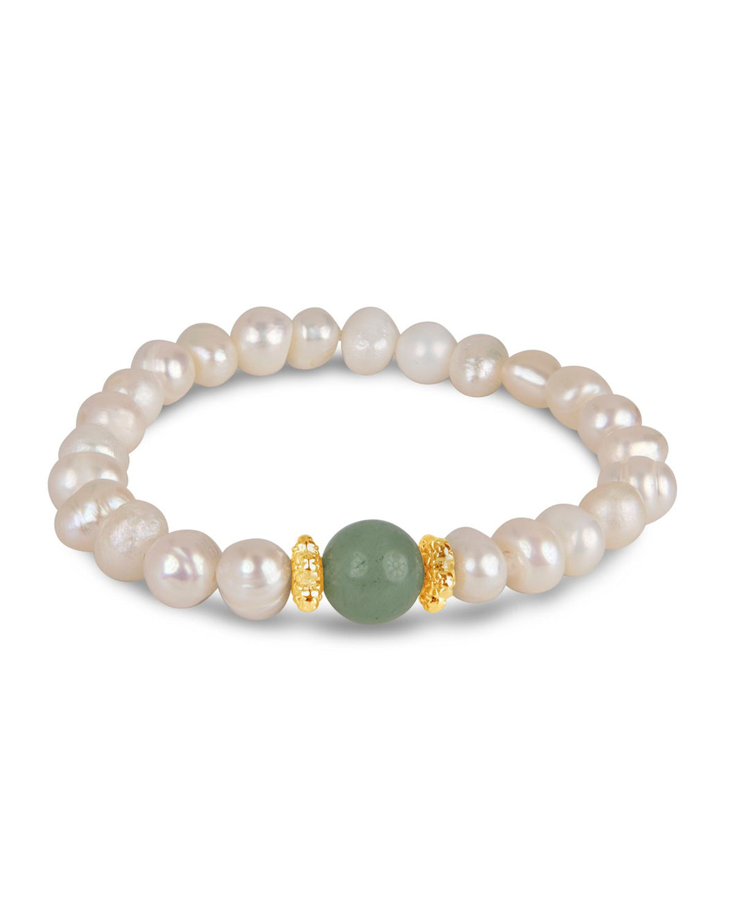 Pearl, Gold, and Aventurine Bracelet
