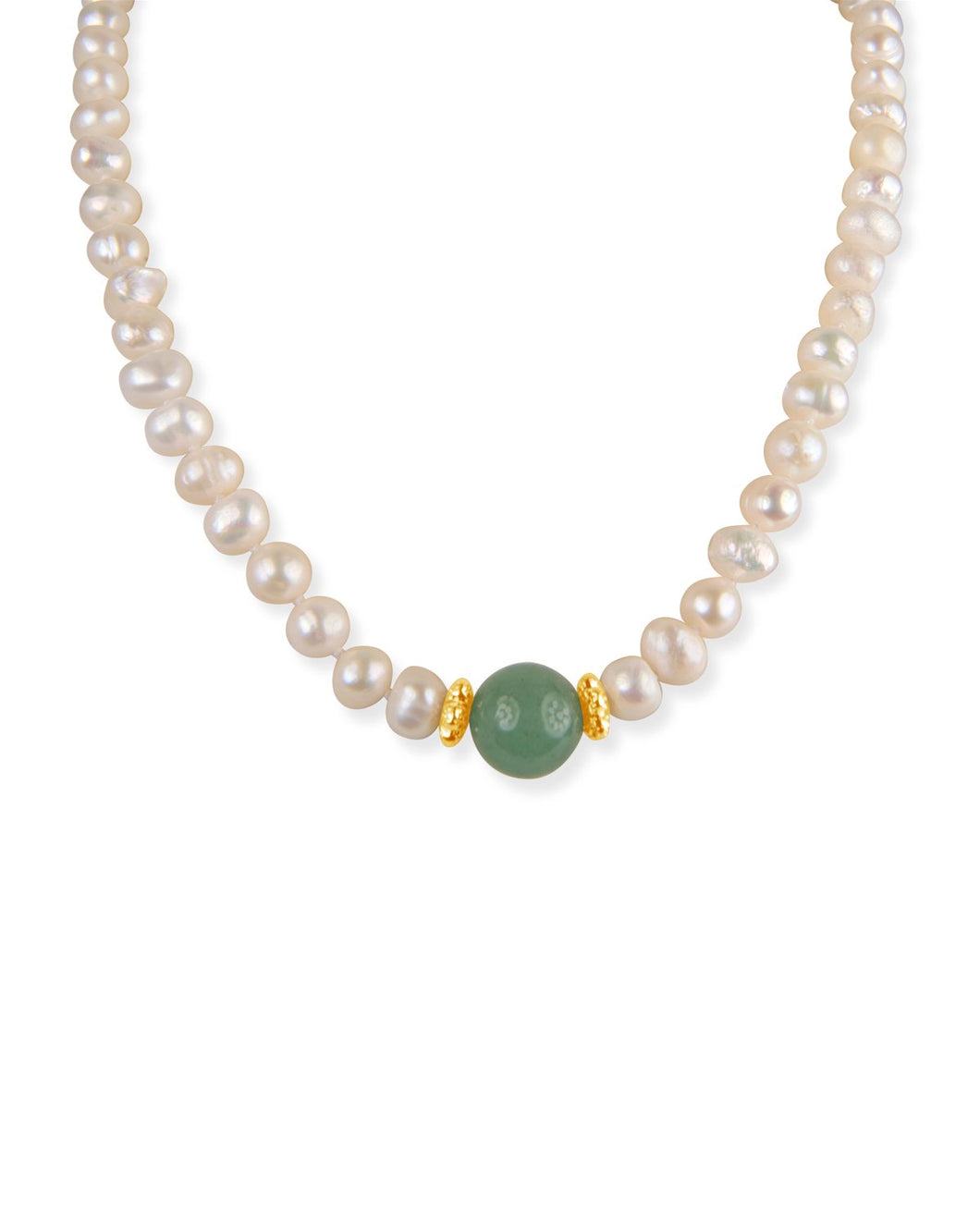 Pearl, Gold, and Aventurine Necklace