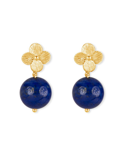 Rich Lapiz Lazuli Earrings with Gold Flowers