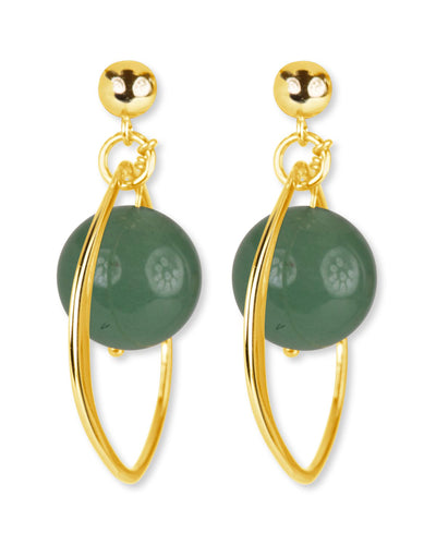 Aventurine and Gold Hoop Earrings