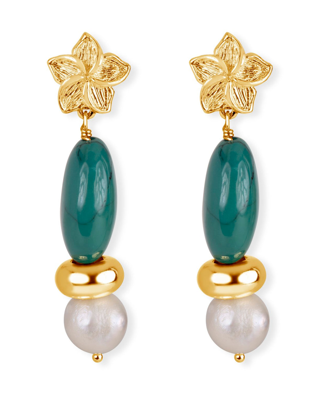 Turquoise, Pearl & Gold Flower Earrings