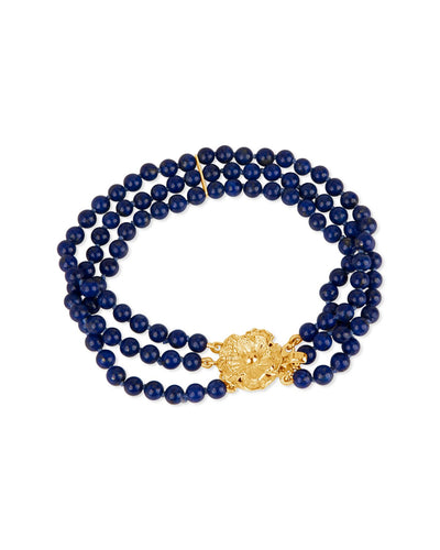 Lapis Lazuli Bracelet with Rich Gold Flower