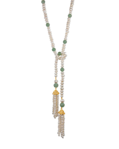 Aventurine and Pearl Tassel Necklace