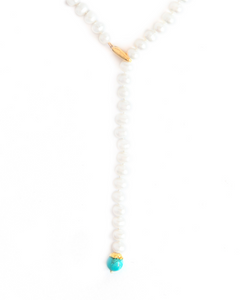 Pearl and Turquoise Lariat