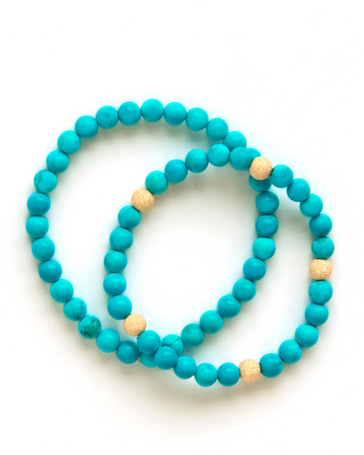 Turquoise and Vermeil Gold Bracelet
