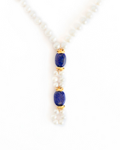 Load image into Gallery viewer, Pearl Necklace with Rich Lapiz Lazuli