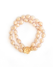 Load image into Gallery viewer, Double Gold Pearl Knotted Bracelet with Flower Clasp