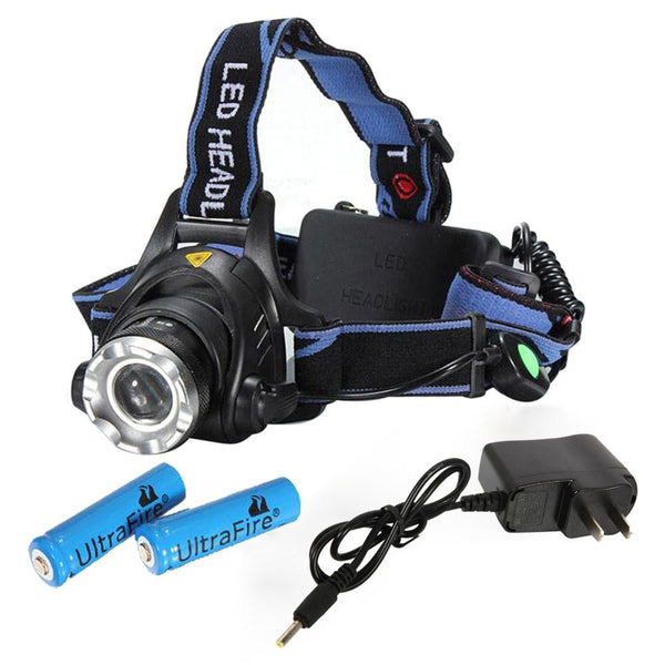 New! 1800LM LED Focus Headlight Head Lamp Zoom + 2Pcs Batteries + Charger - Outdoor Sports Store - Eaglesong Outdoor Retailer