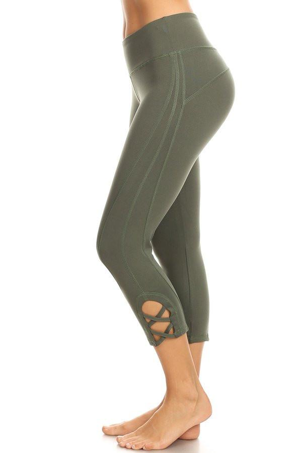 Olive hi-rise legging with a side crisscross strap cutout - Outdoor Sports Store - Eaglesong Outdoor Retailer