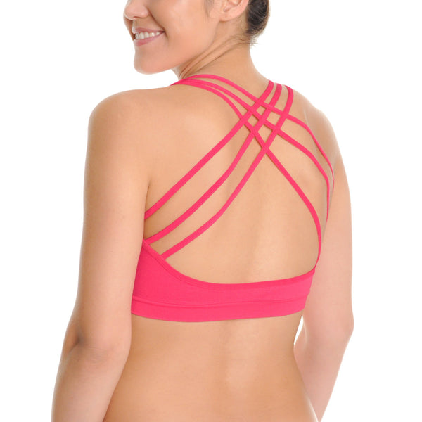 Angelina Seamless Cross Back Bralettes with Front Cut Out Pattern (3-Pack) - Outdoor Sports Store - Eaglesong Outdoor Retailer