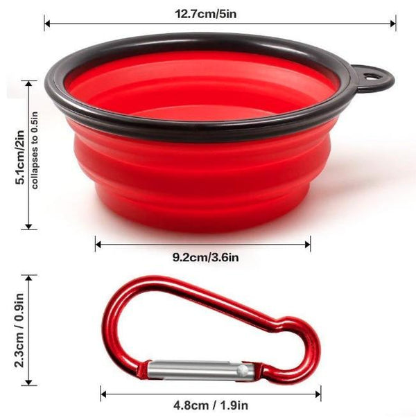 Strong Collapsible Dog Bowls with Color Matched Mountaineering Clips - Outdoor Sports Store - Eaglesong Outdoor Retailer
