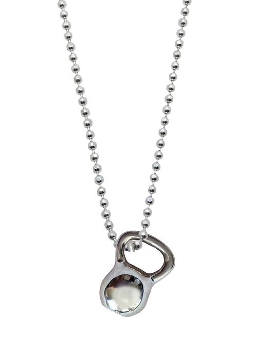 Silver Kettlebell Necklace